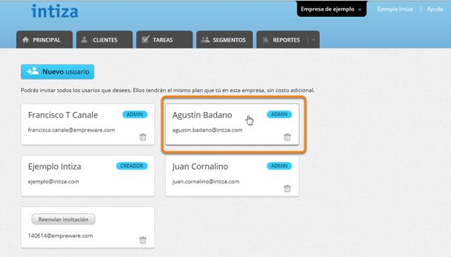 Selecciona el usuario al que deseas limitar los clientes a los que puede acceder.