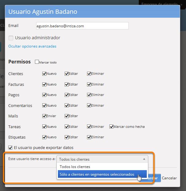 """Haz clic donde dice """"Este usuario tiene acceso a"""" y selecciona la opción """"Sólo a clientes en segmentos seleccionados""""."""