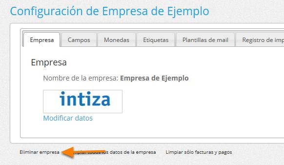 """Haz clic donde dice """"Eliminar empresa""""."""