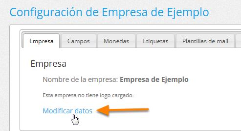 """En la solapa """"Empresa"""" haz clic donde dice """"Modificar datos""""."""
