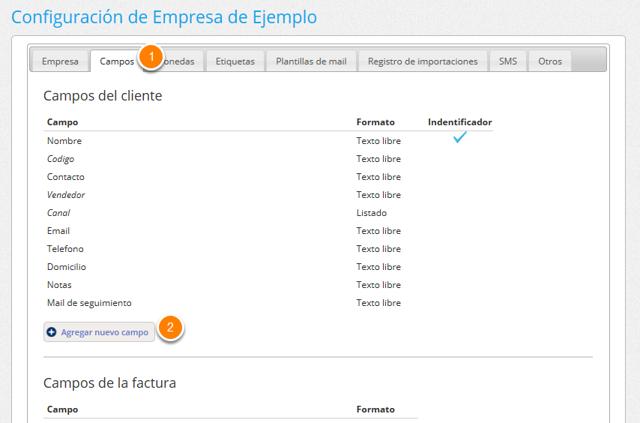"""Ve a la solapa """"Campos"""", y en la parte de Campos de cliente haz clic en el botón """"Agregar nuevo campo""""."""