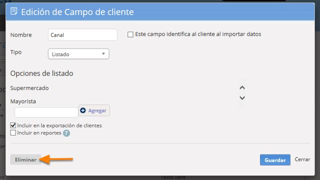 """Se abrirá una pantalla para que edites la información del campo. Debes hacer clic en el botón """"Eliminar"""""""