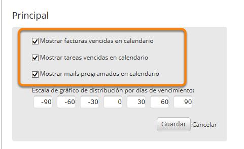 """Allí podrás seleccionar los contenidos a mostrar en el calendario. Al finalizar haz clic en """"Guardar""""."""