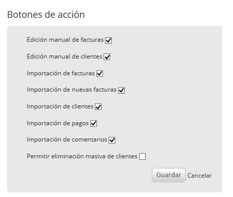 """Selecciona los botones que desees que se muestren. Al finalizar haz clic en """"Guardar""""."""