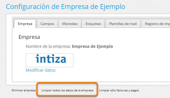 """Haz clic donde dice """"Limpiar todos los datos de la empresa""""."""