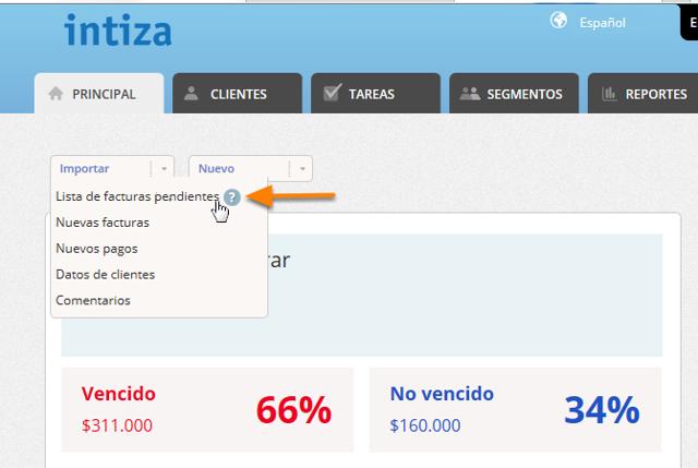 """Haz clic en el botón """"Importar/Lista de facturas pendientes""""."""