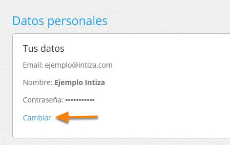 """Donde dice """"Datos personales"""" haz clic en """"Cambiar""""."""