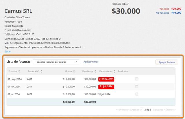 En la lista de facturas haz clic en aquella factura para la que deseas ver el detalle