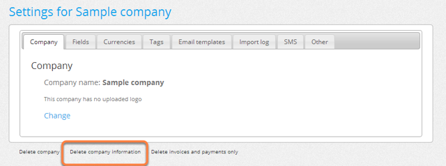 "Click where it says ""Delete company information""."