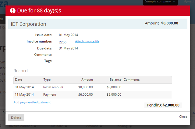 "A window will open with the detail of the invoice. click where it says ""Add payment / adjustment""."
