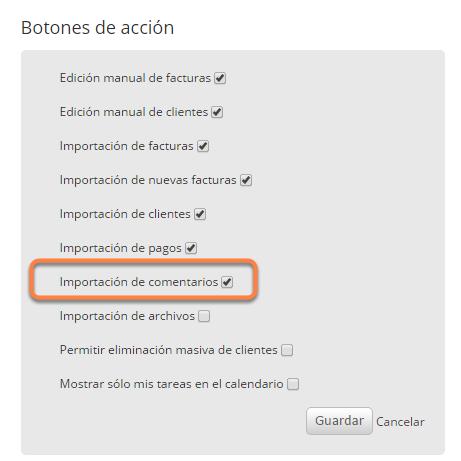 """Por último deberás tildar la opción """"Importación de comentarios"""" y hacer clic en """"Guardar""""."""