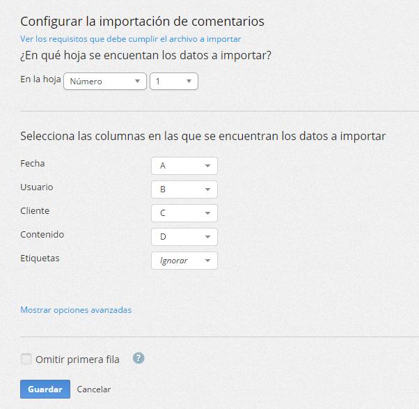"""La primera vez que hagas clic en el botón de """"Importar comentarios"""" se mostrará la pantalla para configurar la importación."""