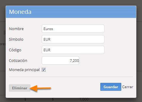 """Ingresa a la página de edición de la moneda que deseas eliminar siguiendo los pasos 3a y 3b de este instructivo, y haz clic en el botón """"Eliminar""""."""