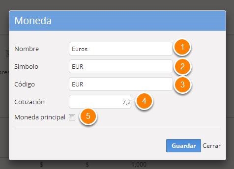 """2c - Se abrirá un cuadro para que cargues la información de la nueva moneda. Al finalizar haz clic en """"Guardar""""."""
