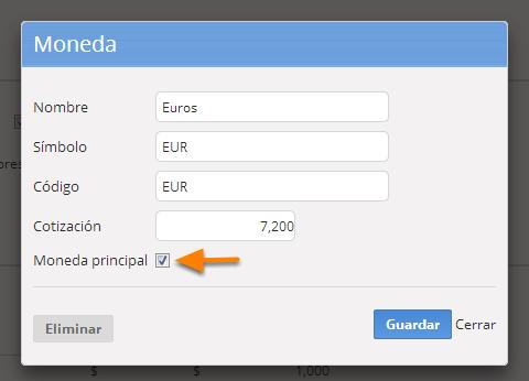 """Ingresa a la página de edición de la moneda que deseas hacer principal siguiendo los pasos 3a y 3b de este instructivo, tila la opción """"Moneda principal"""" y haz clic en """"Guardar""""."""