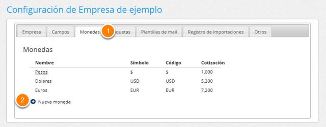 """2b - Dentro de la configuración ve a la sección """"Monedas"""" y haz clic en """"Nueva moneda""""."""