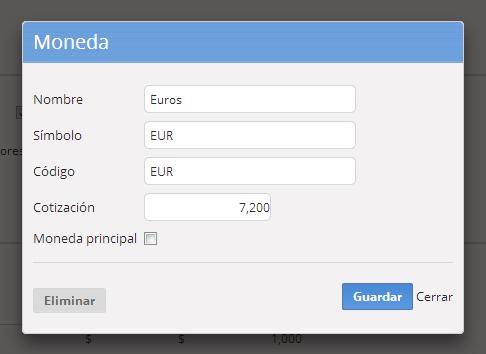 """3c - Se abrirá la información de la moneda para que la edites. Al finalizar haz clic en """"Guardar""""."""