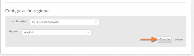 """Selecciona el idioma que deseas y haz clic en """"Guardar""""."""