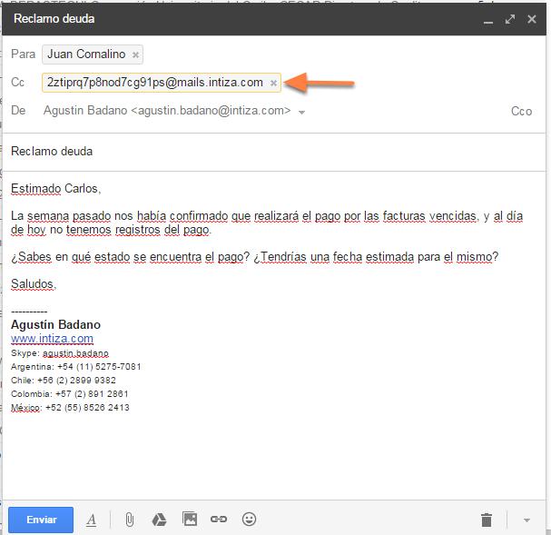 En el mail que vas a enviar a tu cliente desde tu servidor de correos, pon en copia a esa dirección.