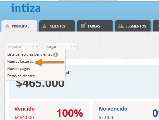 """Haz clic en el botón """"Importar > Nuevas facturas""""."""