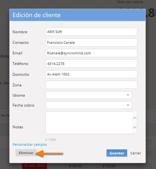 """Si deseas eliminar el cliente debes hacer clic en """"Eliminar""""."""
