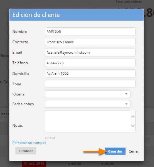 """Se abrirá una pantalla para la edición de cliente. Al finalizar la edición del cliente debes hacer clic en """"Guardar""""."""