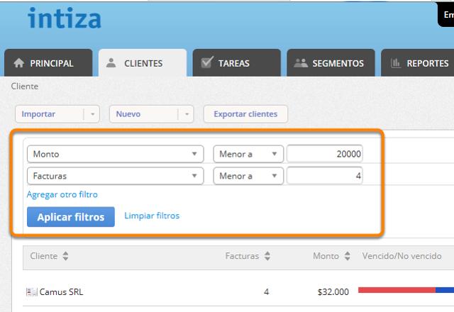 """Selecciona los criterios que cumplen los clientes que deseas eliminar y haz clic en """"Aplicar filtros""""."""