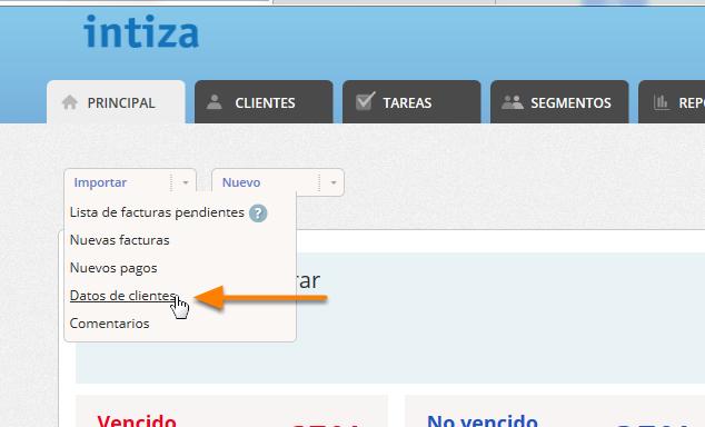 """En la solapa principal selecciona la opción """"Importar / Datos de clientes"""""""