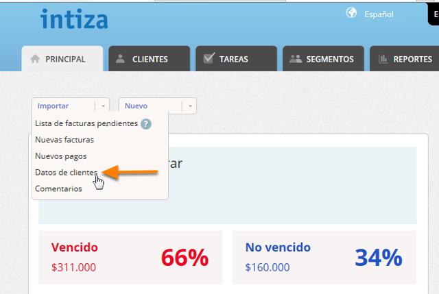 """Haz clic en el botón """"Importar/Datos de clientes""""."""