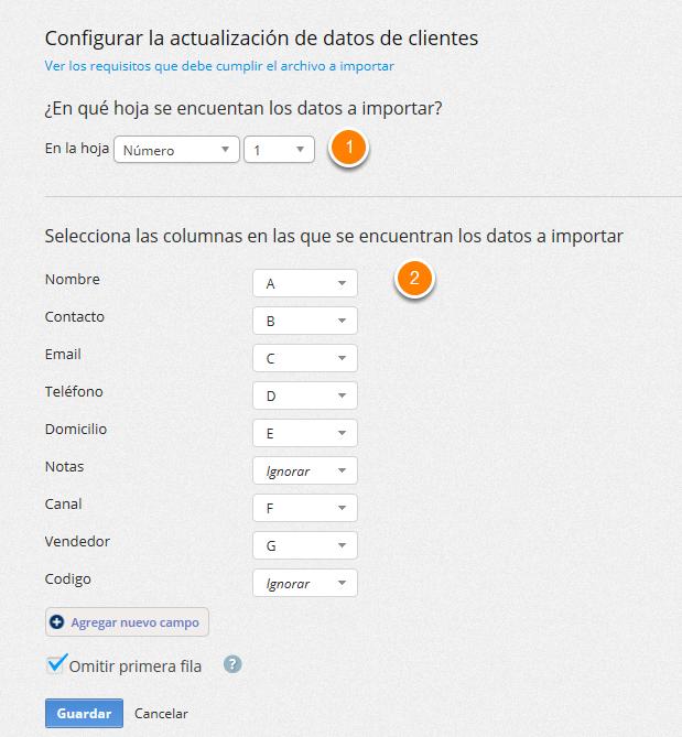 """Se mostrará la pantalla para que edites la configuración de la importación. Al finalizar haz clic en """"Guardar""""."""