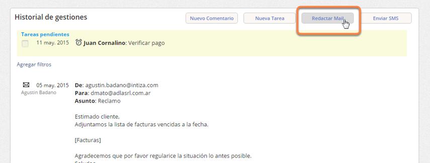 """Haz clic en el botón """"Redactar mail"""" que está en el cuadro """"Historial de gestiones""""."""
