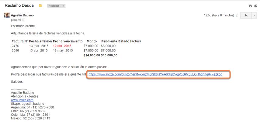 Una vez que envíes el mail Intiza automáticamente incluirá el link al Portal Web del cliente.