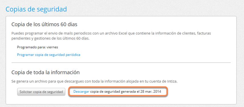 En la parte inferior de la pantalla, podrás descargar los archivos de las copias de seguridad que hayas solicitado previamente.