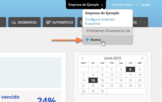 """Ve al selector de empresas y haz clic sobre """"+ Nueva""""."""