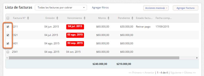 """Se abrirá la pantalla del cliente. En la """"Lista de facturas"""" debes tildar aquellas que deseas editar."""