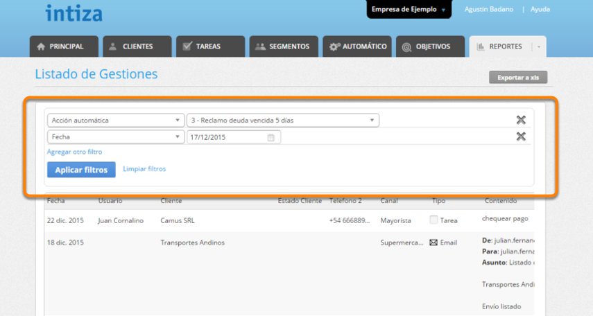 """Selecciona la acción automática que deseas. Tambiénm puedes seleccionar un día o rango de fechas. Al finalizar haz clic en """"Aplicar Filtros""""."""