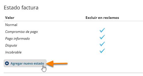"""En la sección """"Estado de factura"""" haz clic en el botón """"Agregar nuevo estado""""."""