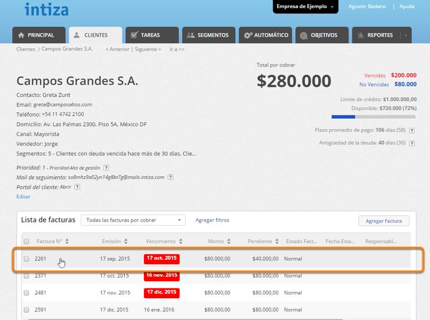 Ingresa a la pantalla del cliente y haz clic sobre la factura a la que deseas cambiarle el estado.