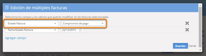 """Se abrirá una pantalla para que selecciones los campos a editar. Debes seleccionar el campo """"Estado Factura"""". Al finalizar haz clic en """"Guardar""""."""
