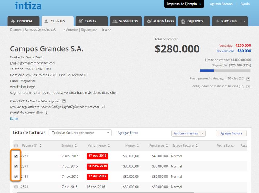 Ingresa a la pantalla del cliente y tilda las facturas a las que desees cambiarle el estado.