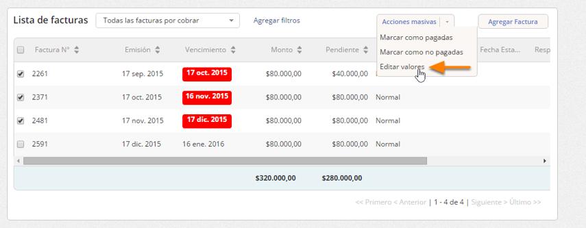 """Haz clic en """"Acciones masivas - Editar valores""""."""