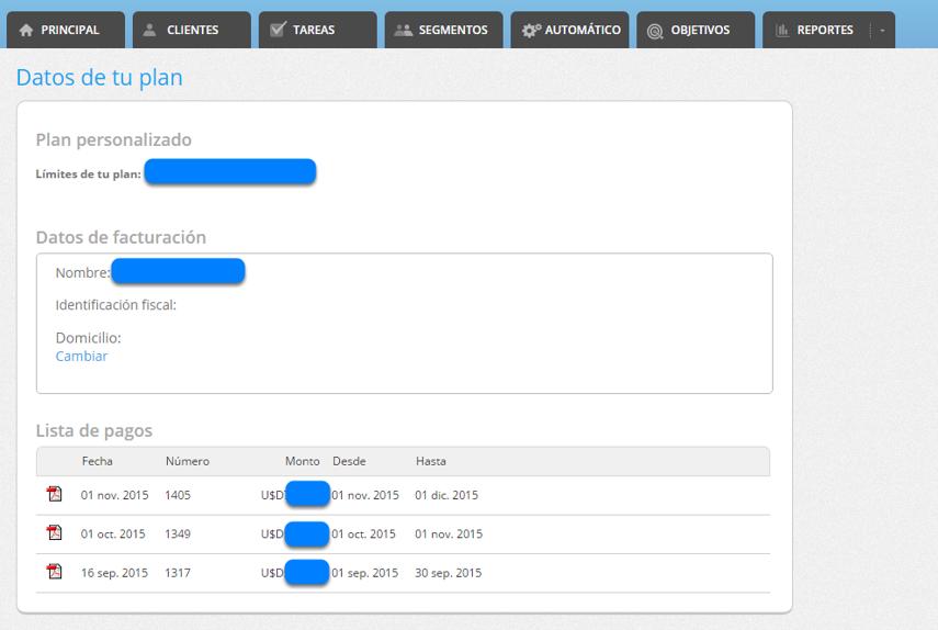 """En la sección de """"Datos de tu plan - Lista de pagos"""" podrás ver las facturas emitidas y descargarlas."""