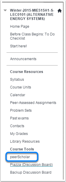 Use your Course's Main Menu to Find PeerScholar