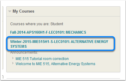 """Find the """"My Courses"""" widget"""