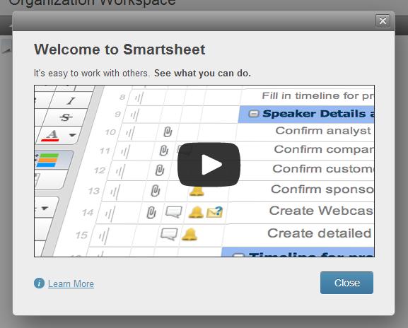 The Smartsheet interface