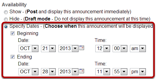 Indicating display dates.