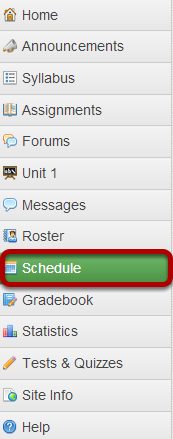 Go to the Schedule tool.