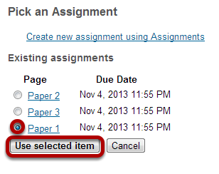 Select or create your assignment.