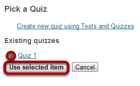 Select or create your quiz.