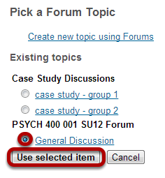Select or create your topic.